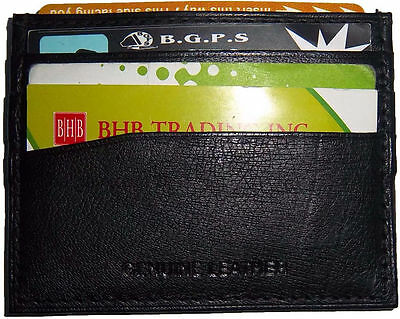 New Leather Business Card Id Card Case Black Leather 7 Card Holder Unbranded Bn