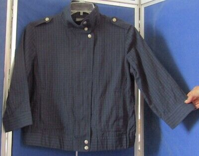 EUC Pretty ADDITIONS by CHICO'S Navy JACKET / TOP Cotton 3/4 Slev 2 POCKETS Sz 1