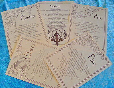 5 x INVOCATION ELEMENTAL POSTERS - BOOK OF SHADOWS PAGES Wicca Witch Pagan Goth