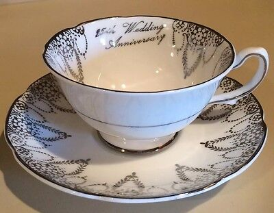 Royal Grafton 25th Anniversary Tea Cup And Saucer with Silver Trim