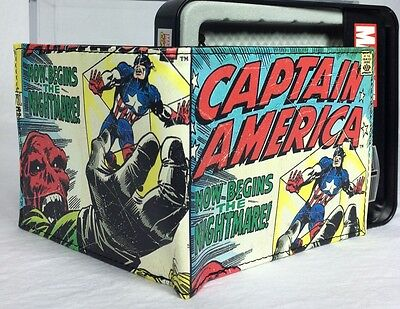 Marvel Comics Captain America Wallet Bifold Slimfold Bonus Tin NWT Faux Leather