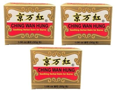 3 Jars of Ching Wan Hung - Soothing Herbal Balm for Burns - 1.06 oz (30g)