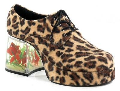 Disco Goldfish Shoes (Funtasma Disco Pimp Costume Shoes w Goldfish in Heel Cheetah 8 9 10 11 12 13)