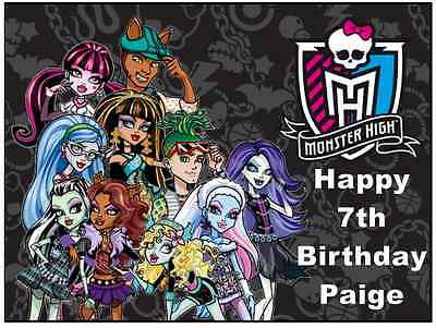 Monster High A4 Personalised Cake Topper 7.5