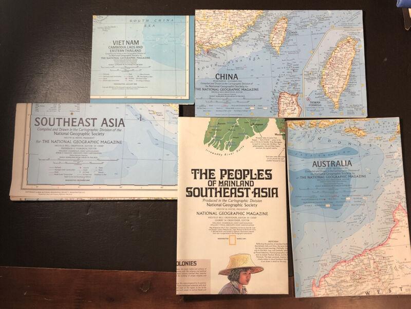 5 Vtg National Geographic Asia & Oceana Maps