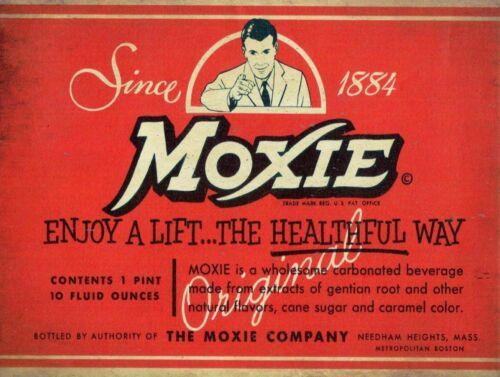 (12) SINCE 1884 MOXIE SODA POP DRINK LABEL HEAVY DUTY USA MADE METAL ADV SIGN