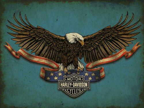 HARLEY DAVIDSON AMERICAN BALD EAGLE HEAVY DUTY USA MADE METAL ADVERTISING SIGN