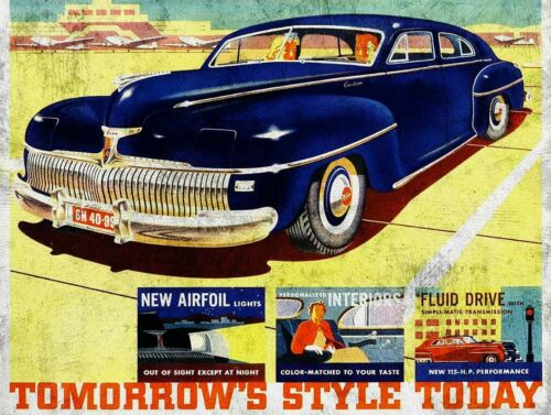 1942 DESOTO CAR TOMORROWS STYLE TODAY HEAVY DUTY USA MADE METAL ADVERTISING SIGN