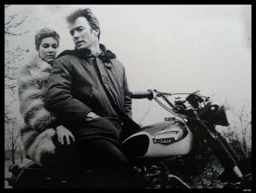 Clint Eastwood Triumph Motorcycle Metal Sign