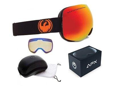 NEW Dragon APX Jet Black Red Mirror Mens Ski Snowboard Goggles Xtra lens Ret$200