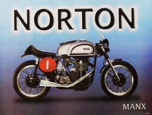 Norton Manx Motorcycle Metal Sign