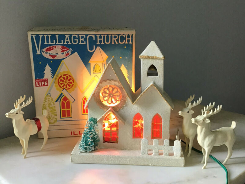 Christmas Village Church Illuminated Vintage World Wide Japan Putz Mica Lot