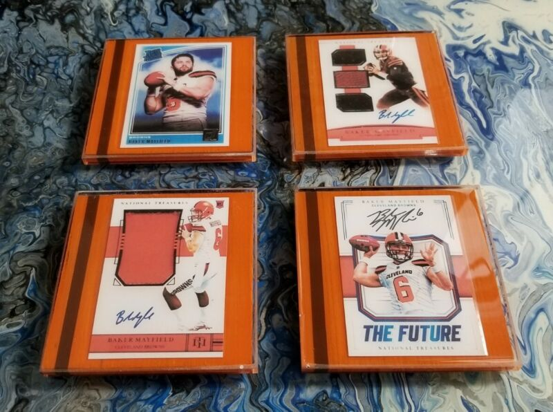 Set Of 4 Coasters W Baker Mayfield Reprint Rookie Cards Cleveland Browns Nfl
