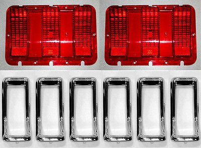 NEW! 1967 Ford Mustang Tail Light Bezel Chrome Full Set of 6 With Lenses Gaskets - Tail Light Bezel Set
