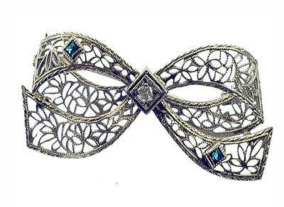 Antique Filigree Diamond Emerald  Bow Brooch Pin Bow-tie Beautiful Gift