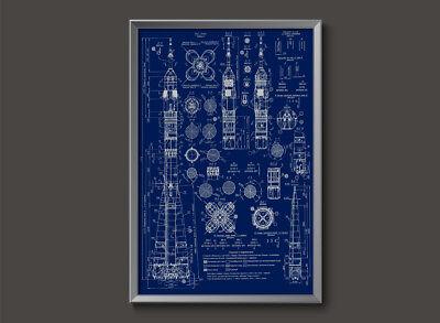Soviet Soyuz Vintage Russian Rocket Blueprint Plans USSR Poster space cosmonaut