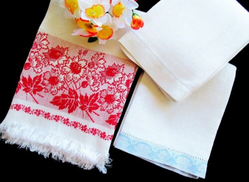 Set of Three Antique Victorian White Linen Huck Towels / Runners RED WHITE  BLUE