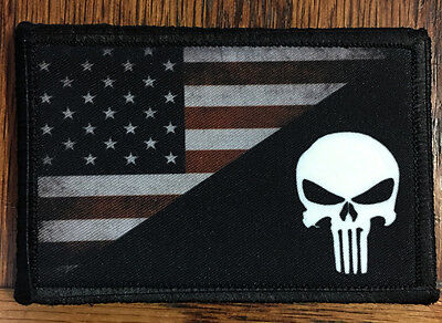 PUNISHER SKULL USA AMERICAN FLAG MORALE Patch Tactical Military Army Badge