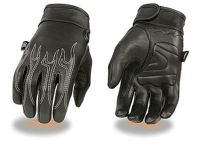 Black Gel Palm Embroidered Leather Gloves FLAMES Motorcycle Rider Biker Work