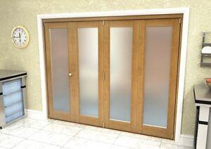 Oak Internal Bifolding Doors / Room Divider - 2516mm x 2078mm - Frosted Glass