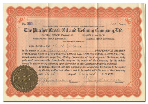 Pincher Creek Oil and Refining Company Stock Certificate