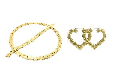 Bamboo Heart Hoops Women's Gold Tone Hugs & Kisses Necklace with XL Bracelet set