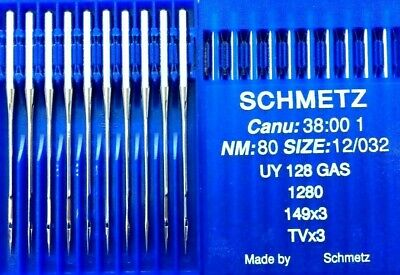 SCHMETZ TVX3 UY128GAS NM80 SIZE12/032 COVERSEAM INDUSTRIAL SEWING MACHINE NEEDLE, used for sale  Shipping to Nigeria