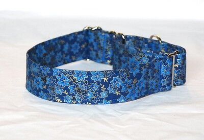 "1.5"" Martingale Dog Collar Dark Blue Leaves with Gold Outline"