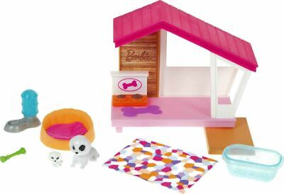 Barbie Mini Playset with 2 Pet Puppies, Doghouse and Pet Accessories, Gift for 3
