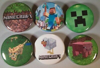 Minecraft Badge Button Pin Party Favors Stocking Stuffers set of 6