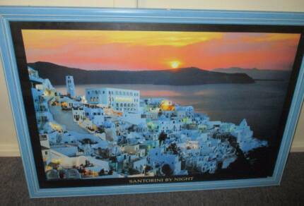 Greek 'Santorini' glass framed wall hanging picture 100W x 700H