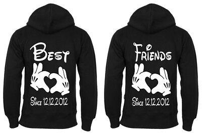 Partner BFF Freundschafts Hoodies Pullover Best Friends mit Wunschdatum SINCE - Besten Freund Pullover