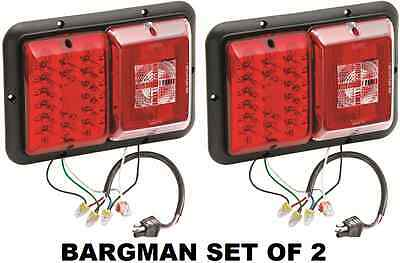 84 Serie Leder (BARGMAN SET OF 2 (TWO) LED RECESSED TRAILER TAILLIGHT #84/85 SERIES W BLACK BASE)