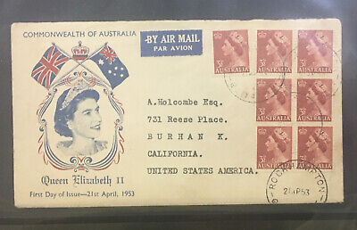 1953 Australia FDC  queen Elizabeth  QEll 7 stamps cover