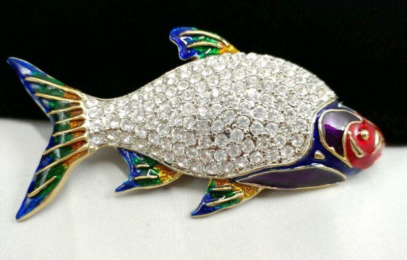 W) vintage Large Carp Trout Mullet Talapia Fish Enamel Rhinestone Brooch Pin #1