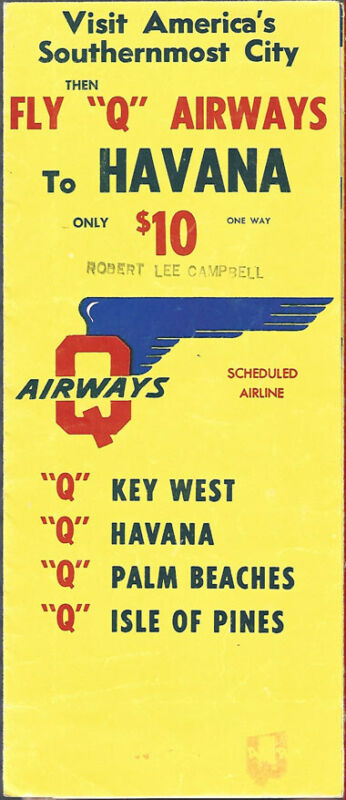 Q Airways system timetable c late 50s [9081]