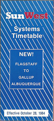 Sun West Airlines system timetable 10/28/84 [6114]
