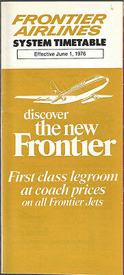 Frontier Airlines system timetable 6/1/76 [7084]