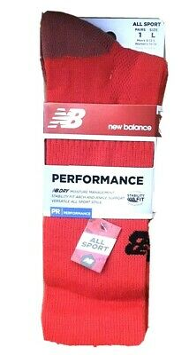 New NEW BALANCE Sport Socks Perfomance Mid-Calf RED men 7.5-9 Anti-Moisture New Balance Sport Socks