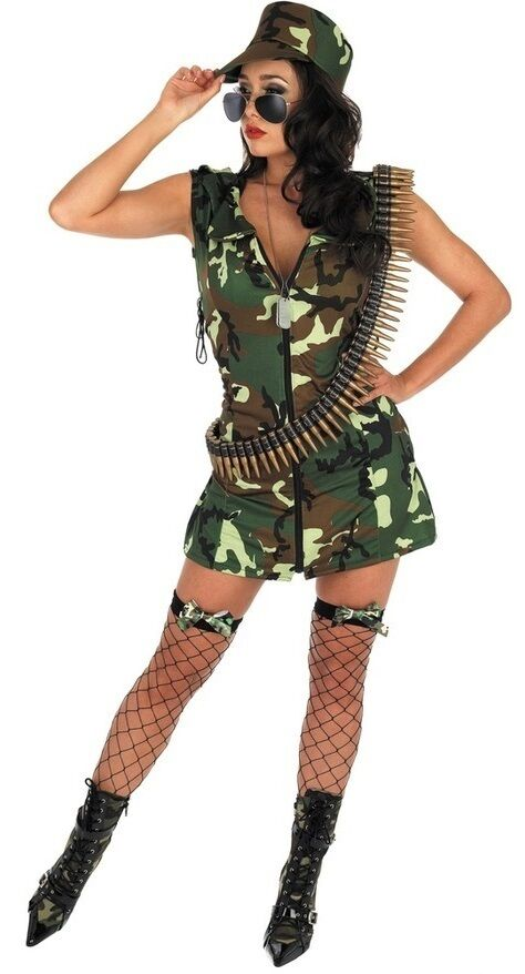 Ladies Deluxe Army Babe Camo Military Uniform Fancy Dress Costume Outfit UK 8-18
