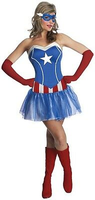 Ladies Sexy Captain America Superhero Comic Tutu Fancy Dress Costume Outfit 6-18](Captain America Tutu Costume)