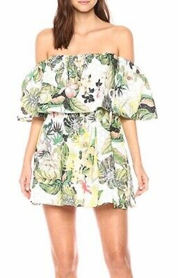 GUESS Women's Floral Mini Dress Size Medium Off the Shoulder Cotton Print (Guess The Designer)
