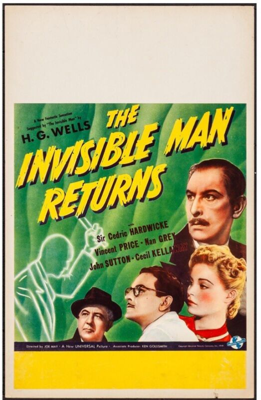 "The Invisible Man Returns 1939. Very Fine-. Window Card (14"" X 22""). Horror."