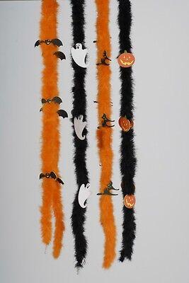 Fun Halloween Boas Orange Pumpkins Costume Feather Ghost Adult Children Party - Orange Boas