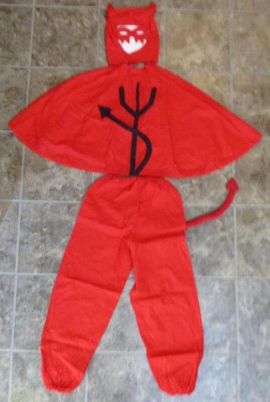 Vtg RARE Handmade Devil Costume 1920s Mask Cape Pitchfork Tail Horns Lucifer