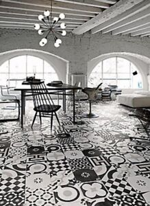 Cementine black and white  porcelain tile