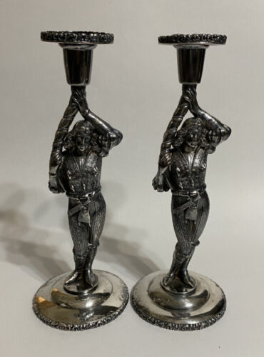 Wonderful Pair of Silver-plated Figural Candlesticks - Van Bergh Silver-plate Co