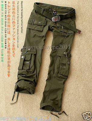 Womens Fashion Military Army Green Cargo Pockets Pants Leisure Trousers Outdoor