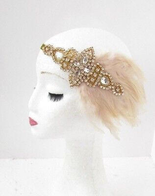 Beige Champagne Gold Silver Feather Headband 1920s Flapper Headpiece Gatsby - Gold Feather Headband