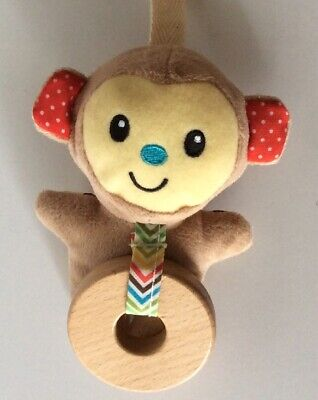Infantino Stuffed Plush Monkey Toy with Wood Circle Ring for Baby Gym 4 Inches